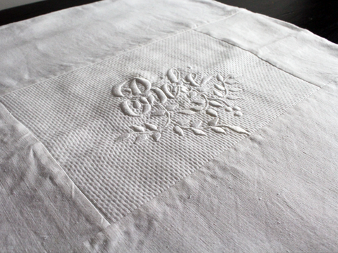 40cm Square Cushion - Antique French White on White Embroidered 'Bébé' on Linen