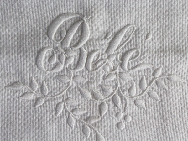 40cm Square Cushion - Antique French White on White Embroidered