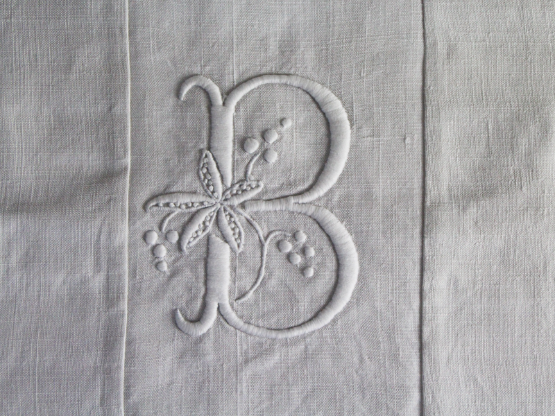40cm Square Monogrammed Cushion - Antique French White on White Embroidered 'B' on Linen