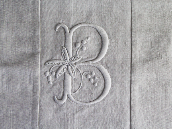 40cm Square Monogrammed Cushion - Antique French White on White Embroidered