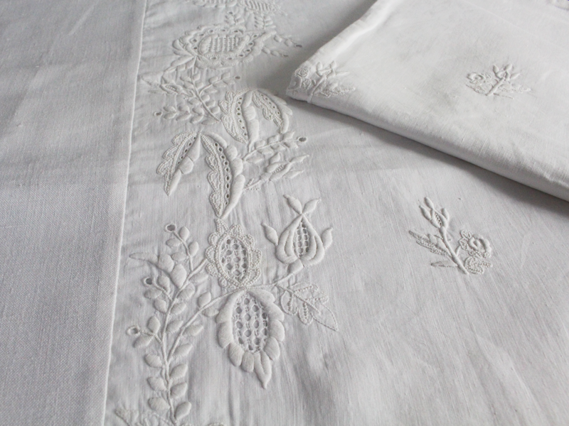 40cm Square Cushion - Antique French White on White Embroidery on Linen P234