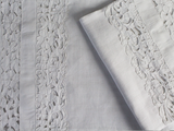 Small Bolster - Antique French White on White Embroidered Floral Cutwork on Linen