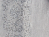Small Bolster - Antique French White on White Embroidered Cornely on Linen