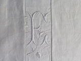 Medium Bolster Monogrammed - Antique French White on White Embroidered 'E' on Linen by Charlotte Casadéjus