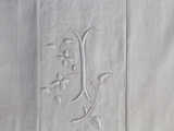 Medium Bolster Monogrammed - Antique French White on White Embroidered 'I' on Linen by Charlotte Casadéjus