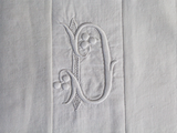 Small Bolster Monogrammed - Antique French White on White Monogrammed 'D' Cushion