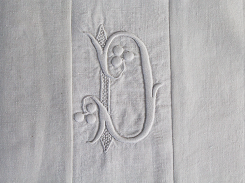 Small Bolster Monogrammed - Antique French White on White embroidered 'D' Cushion