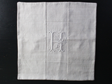 40cm Square Cushion - Antique French White on White Embroidered 'H' on Linen