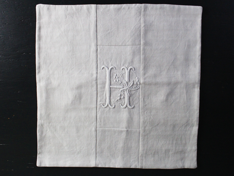 40cm Square Monogrammed Cushion - Antique French White on White Embroidered 'H' on Linen