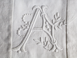 30cm Square Monogrammed Cushion - Antique French White on White Embroidered 'A' on Linen