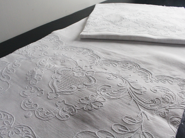 Medium Bolster - Antique French White on White Embroidered Cornely on Linen by Charlotte Casadéjus