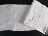 Medium Bolster - Antique French White Embroidered Piqué by Charlotte Casadéjus
