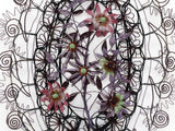 A Very Large Early 20th C Floral & Leaf Beaded Wreath Mortuaire Aubergine