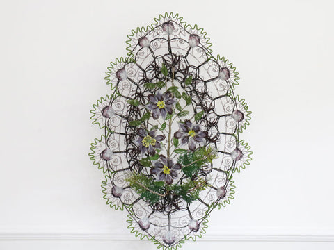 A Very Large Early 20th C Floral & Fern Beaded Wreath Aubergine and Green