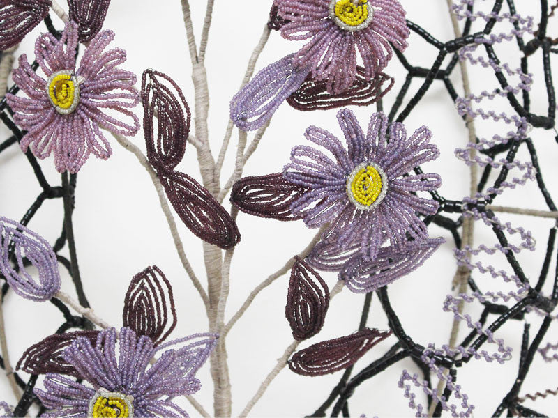 An Early 20th C Floral Beaded Mortuaire in Aubergine and Black