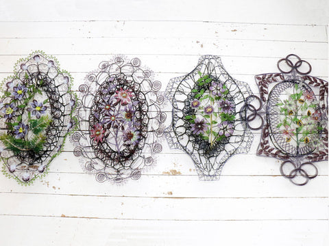 A Very Large Early 20th C Floral Beaded Wreath in Aubergine, Green & Black