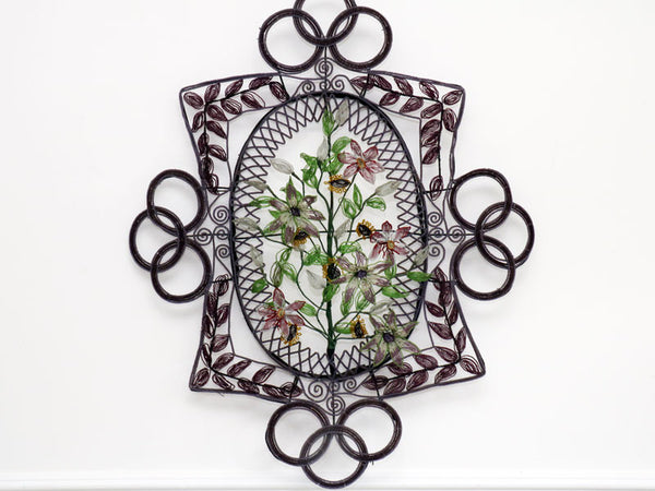 A Very Large and Unusual Early 20th C Floral Beaded Wreath in Aubergine and mauve tones