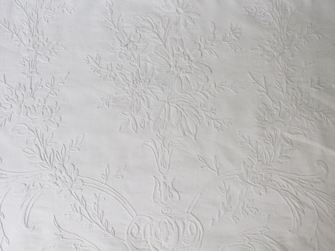 Bolsters - Antique French White on White Cornely Embroidery on Linen Bolster by Charlotte Casadéjus