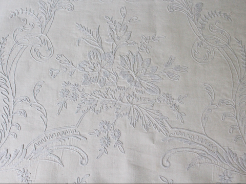Bolsters - Antique French White on White Emboidered Cornely on Linen Bolster by Charlotte Casadéjus