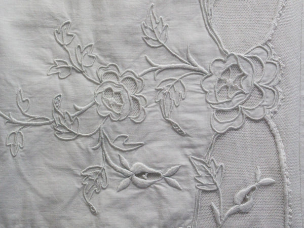 40cm Square Cushion - Antique French White on White Floral Embroidery on Linen