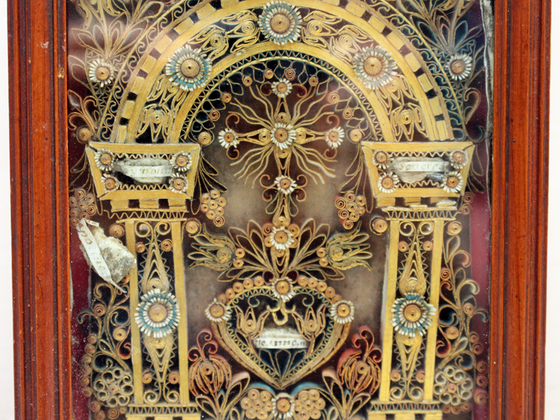 An Ornate Italian Paper Scroll Relic with Pearwood Frame