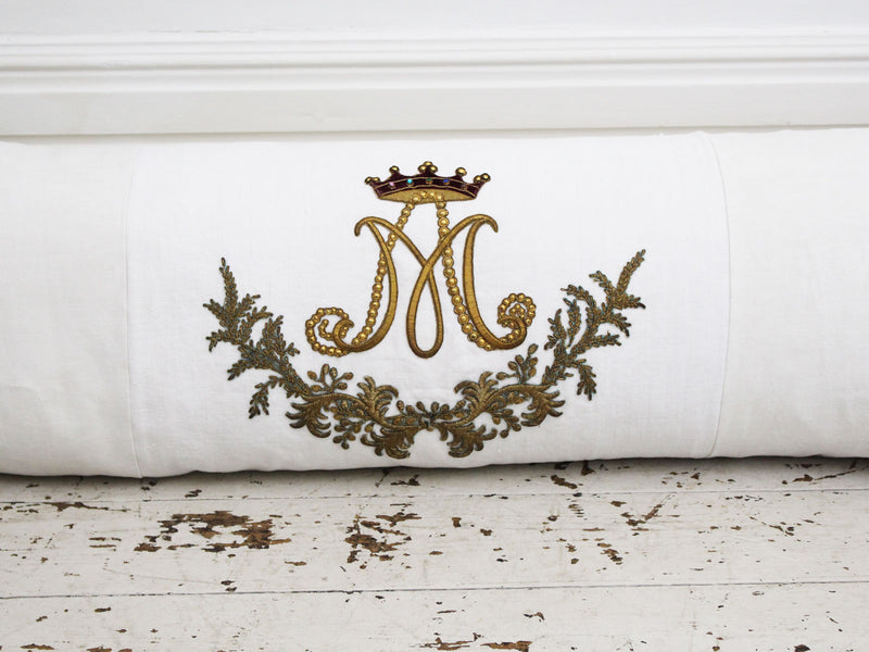 Bolsters - Antique French Appliqué Goldwork Embroidery with Crown P346