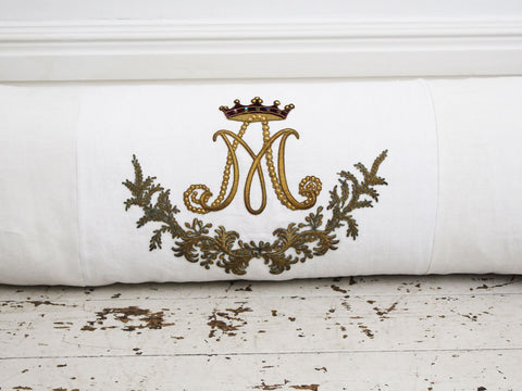 Bolsters - Antique French White on White Appliqué Embroidery on Linen Bolster P345