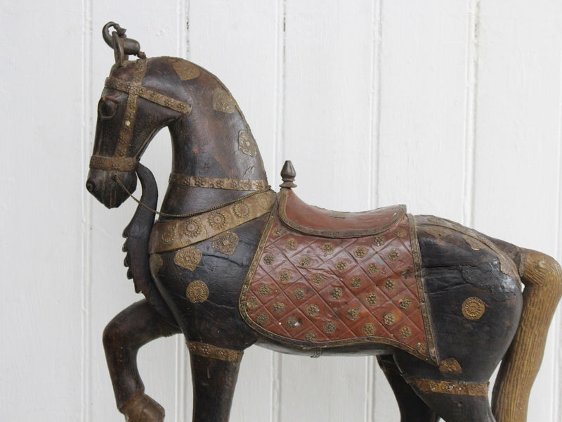 A Late 19th C Indian Carved Wood Painted Sculpture of a Horse