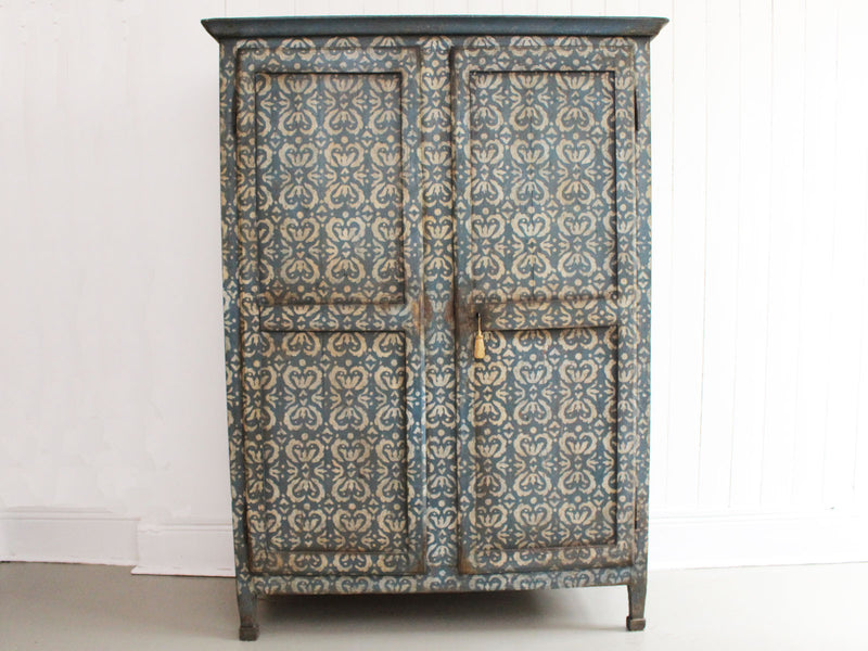 An Decorative Antique Italian Blue & White Painted Armoire