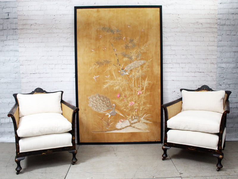 Exceptionally Large Antique Japanese Hand Embroidery Depicting Peacocks in Black Frame