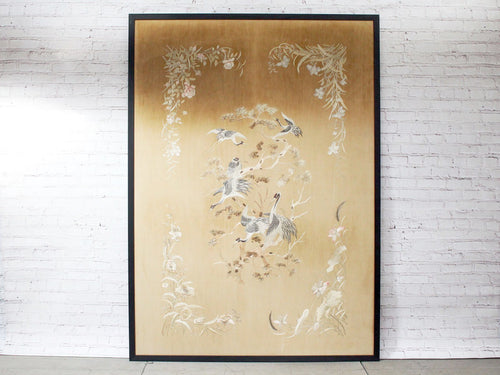 Exceptionally Large Antique Japanese Hand Embroidery Depicting Herons in Silver Tones