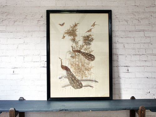 Antique Hand Embroidered Japanese Peacocks in Original Black Frame
