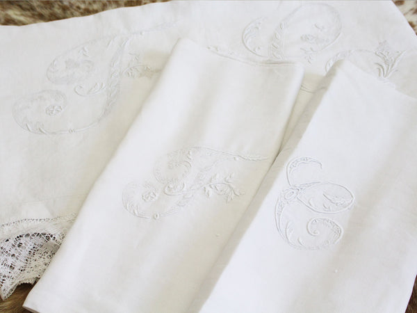 Spanish Embroidered Sheet with Large Monogram