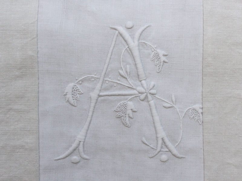 A 40cm Square Cushion - Antique French 'A' Monogram on Linen P4077