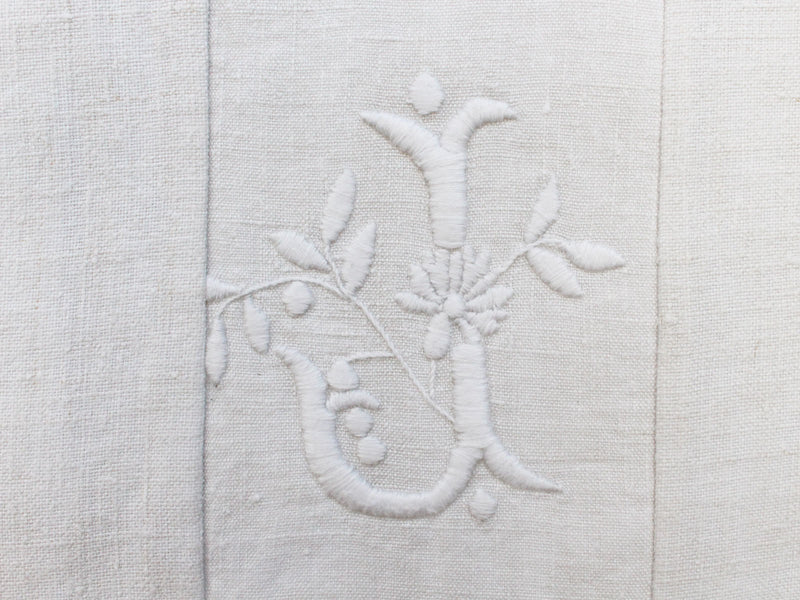 J Small Bolster - Antique French J Monogram on Linen PR62
