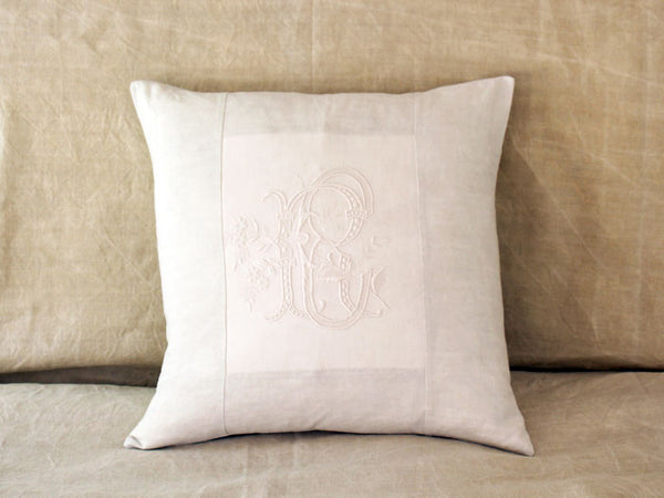 RC 50cm square cushion - Antique French monogram RC on Linen