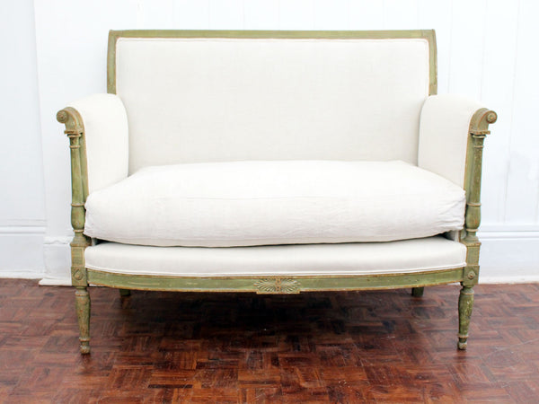 A French Late 18th C Baby Sofa with Original Green Paint