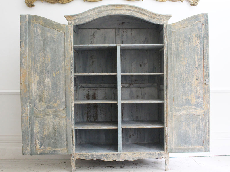 A Decorative 19th Century Blue Grey Painted French Armoire