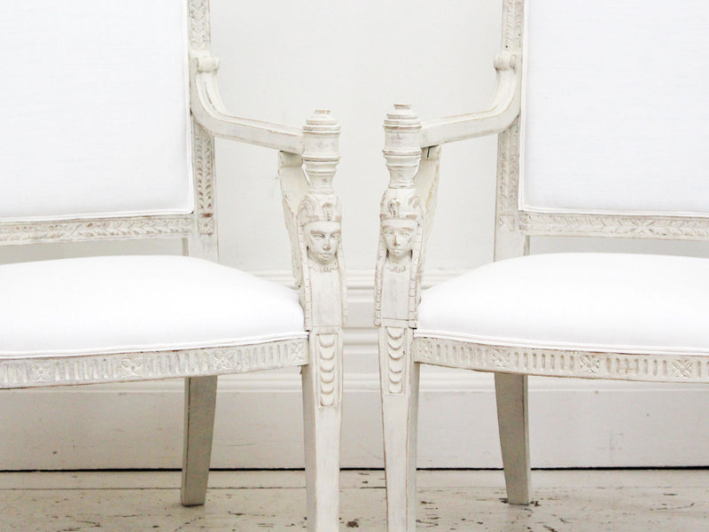 A Late 19th Century French Pair of Egyptian Revival Armchairs