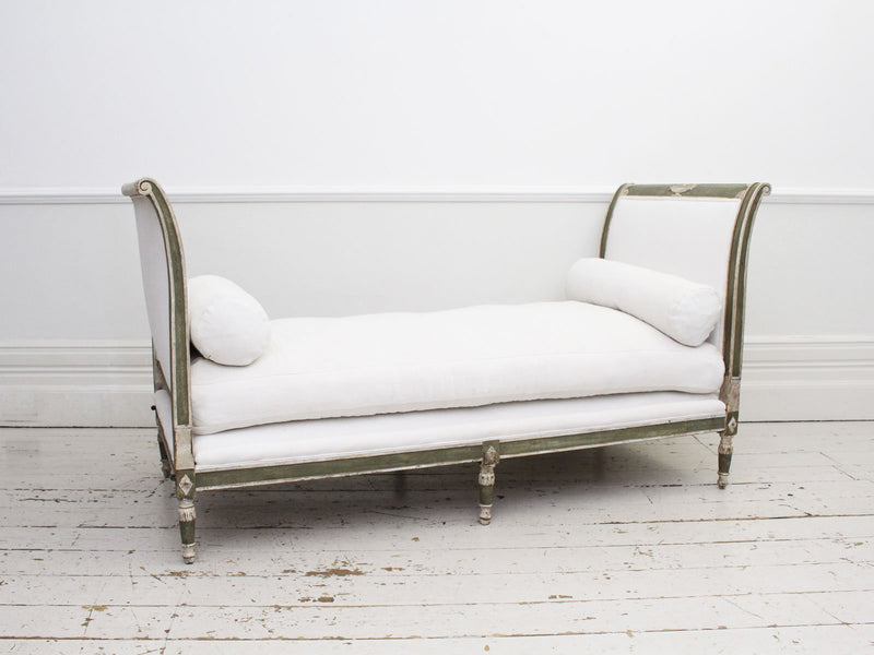 A French 19th Century Painted Grey Green Daybed