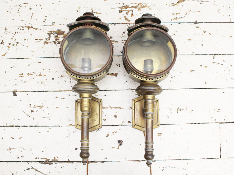 A 19th C Pair of Wall Mounted Brass Porch Lights