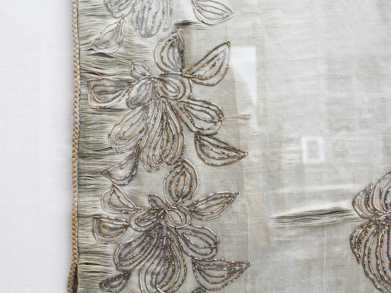 An Early 19th C Silver Work Embroidery on Silk With Contemporary Perspex Frame