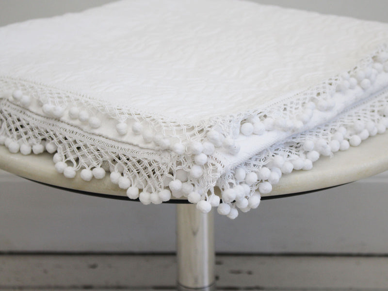A 19th C White Pique Bed Cover with Pom Pom Trim