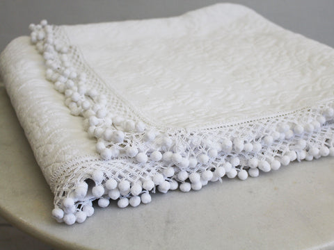 Small Bolster - Antique French White on White Embroidered Scalloped Cutwork on Linen Cushion