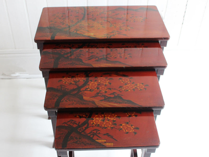 A Quartetto Nest of Antique Japanese Red Lacquered Tables