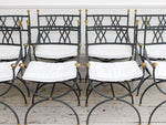A Rare Set of 8 1930's French Curule Armchairs with Brass Decoration