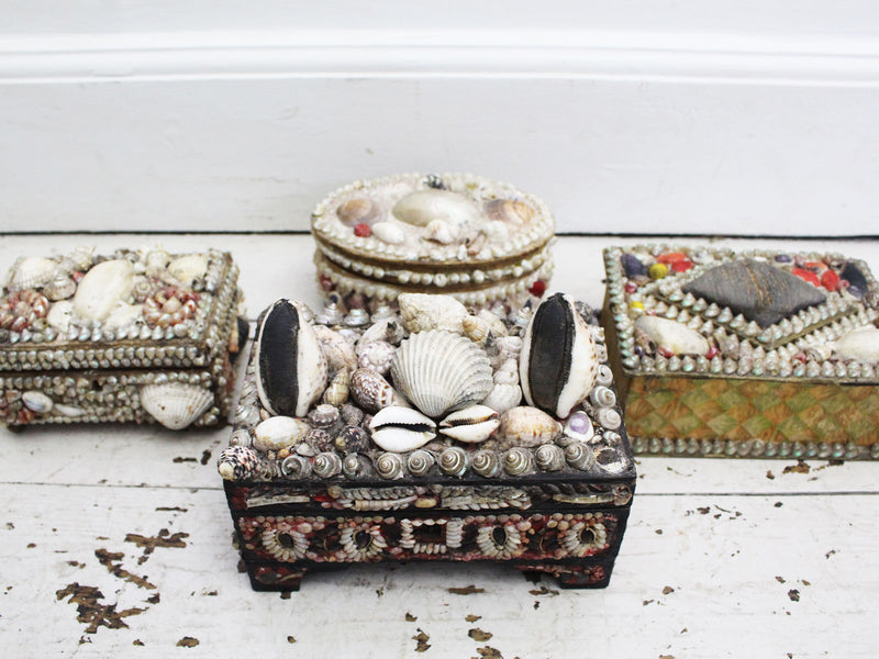 A Decorative Antique Shell Covered Box 2 of 4