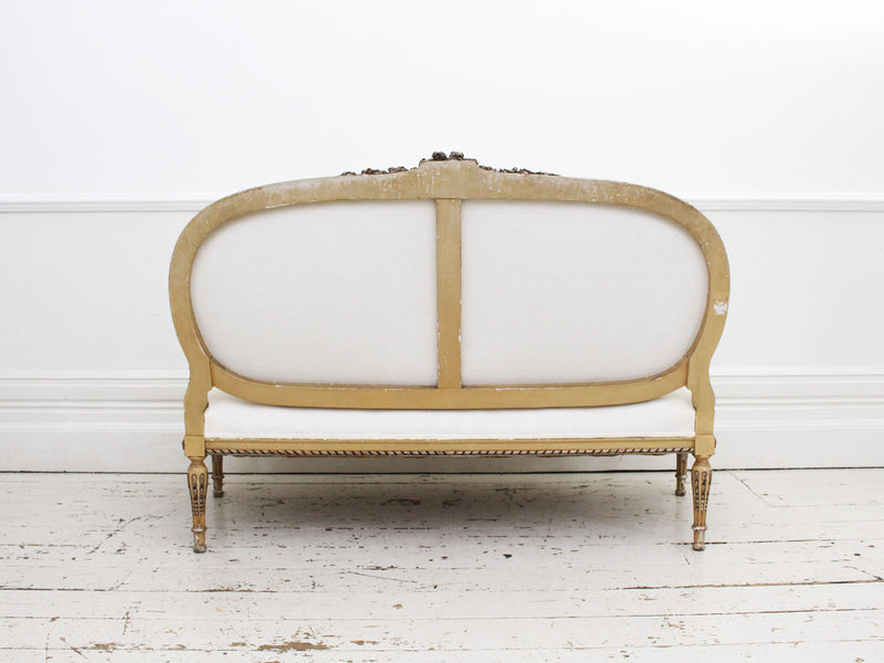 A Louis XVI Style 19th C French Silver Water Gilt Sofa