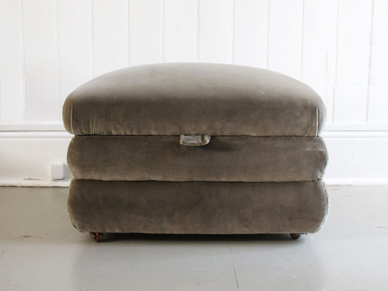 A Small 19th Century Ottoman with Grey Green Velvet Covering