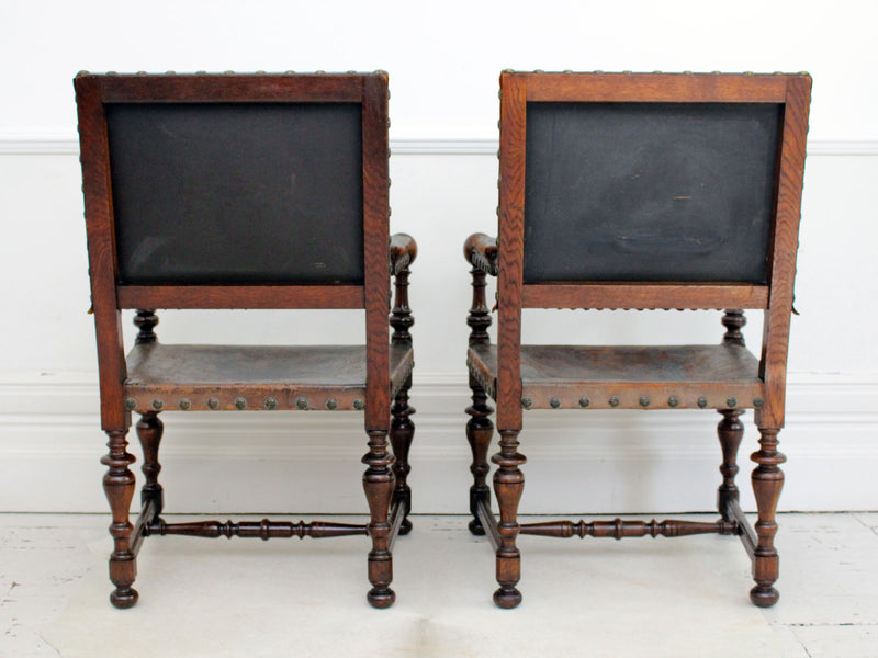 A Pair of Early 19th C Spanish Embossed Leather Armchairs